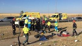 Cinco mujeres heridas, una de ellas grave, tras volcar una furgoneta y dar varias vueltas de campana en Leganés