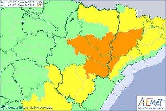 Aviso naranja por tormentas en la ribera del Ebro, Bajo Aragón y sur de Huesca