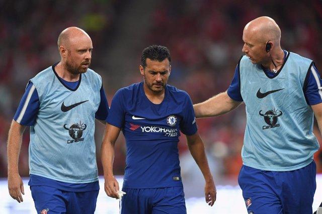 Pedro Rodríguez tras sufrir una conmoción con el Chelsea