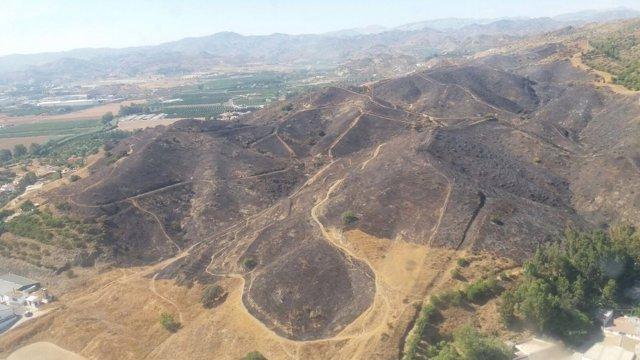 Incendio forestal los asperones málaga capital hectárea afectada