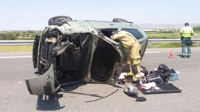 Accidente en la AP-68, cerca de Alagón