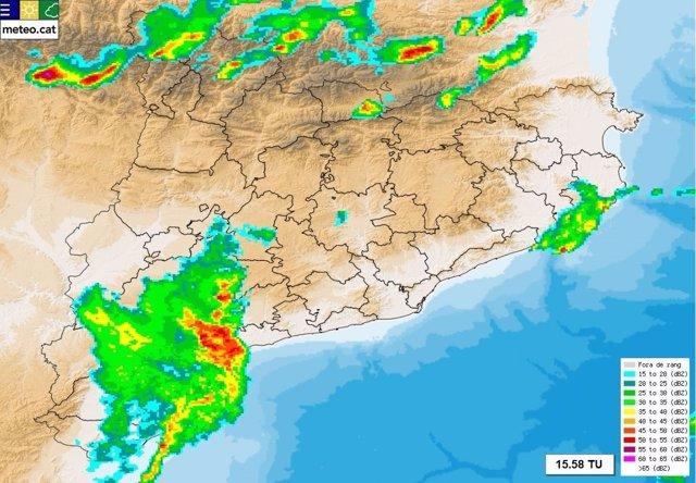 Mapa de precipitaciones en Catalunya el 23 de julio de 2017