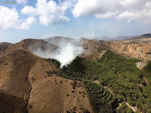 Incendio forestal en La Unión
