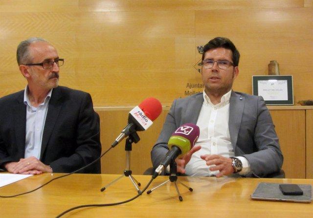 El alcalde de Mollet, Josep Monràs, y el consejero delegado de Idneo, Raúl Lucas