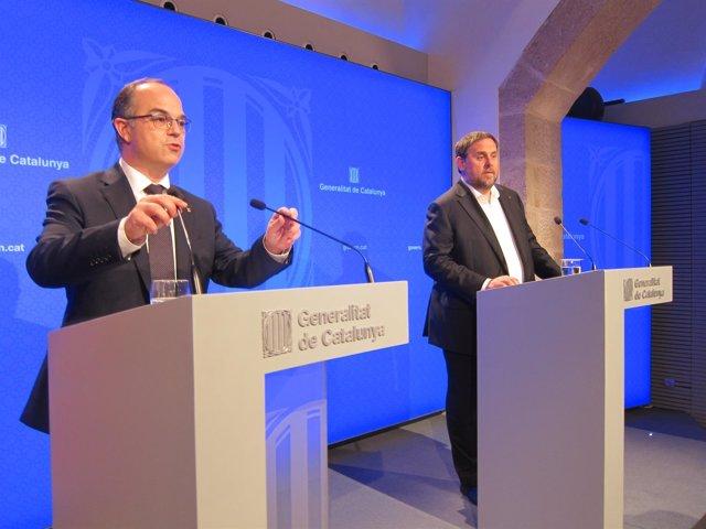 J.Turull y O.Junqueras en rueda de prensa este martes