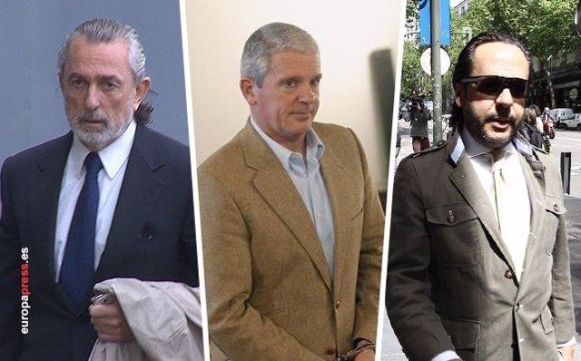 Montaje de los cabecillas de la trama Gürtel, Correa, Crespo y El Bigotes