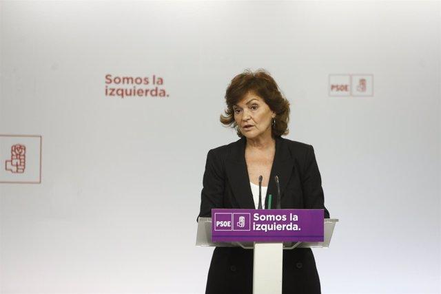 Calvo en una reunión sobre el Pacto de Estado contra la Violencia de Género