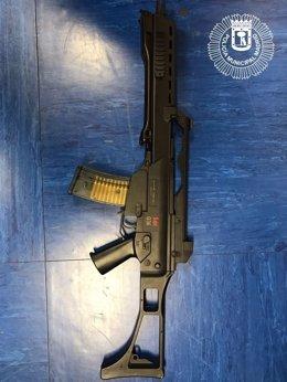 Arma de Airsoft requisada
