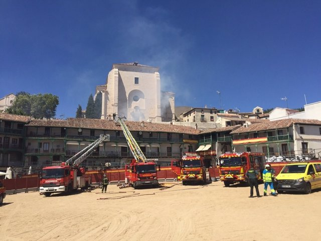 Incendio en la plaza mayor de Chinchón