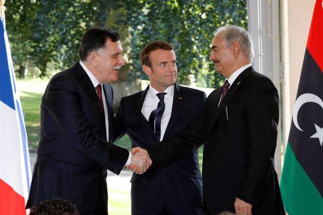 Emmanuel Macron, Fayez Serraj y Jalifa Haftar