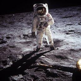 Buzz Aldrin, en la superficie lunar