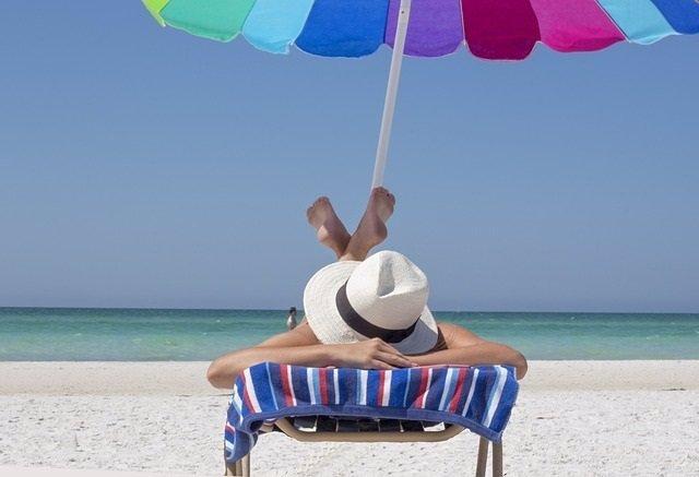 Playa, sol, mar, sombrilla, hamaca, sombrero, vacaciones, dormir, relajación