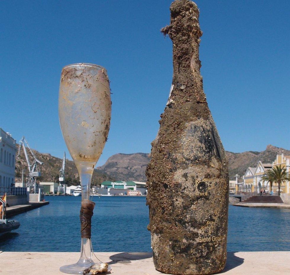 Botella y copa recogida del mar
