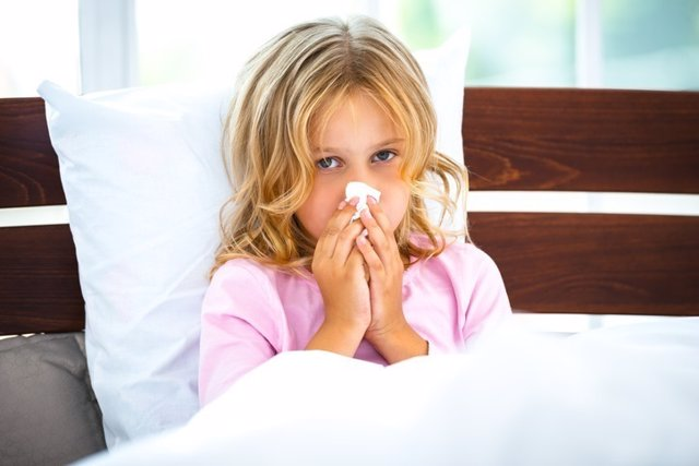 Resfriado, niña, gripe
