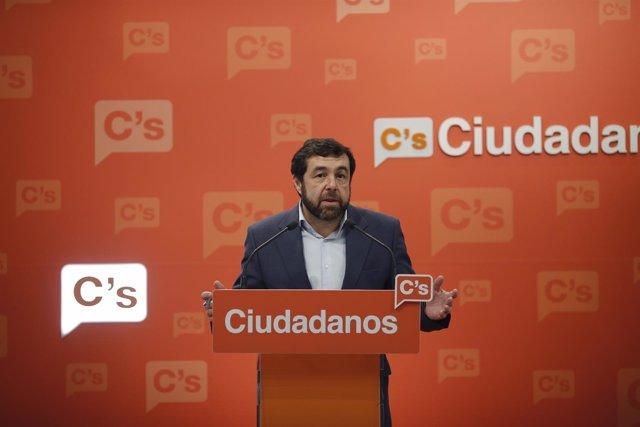 Rueda de prensa de Miguel Gutiérrez en la sede de Ciudadanos
