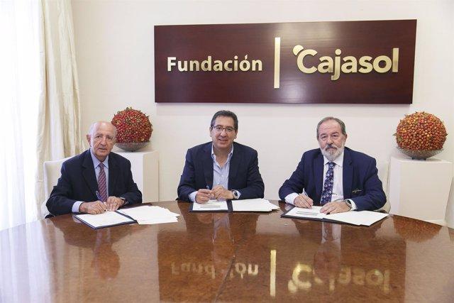 Jesús Mejías y Antonio-Pulido presidente de la Fundación Cajasol.
