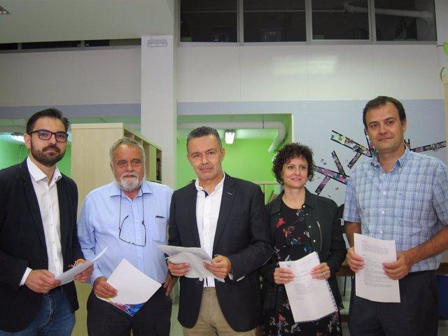 Ubis, Rubio, Escobar, Sanz y Fernández antes de iniciar su reunión