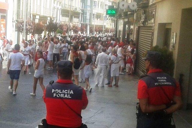 Policía Foral en fiestas de Tudela.
