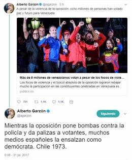 Captura de los comentarios de Alberto Garzón en Twitter