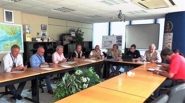 Sanz en una reunión del dispositivo de la OPE en Algeciras