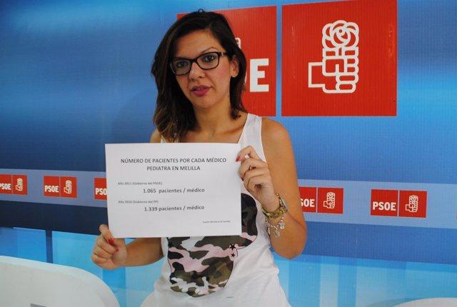Sabrina Moh en rueda de prensa en la sede del PSOE de Melilla