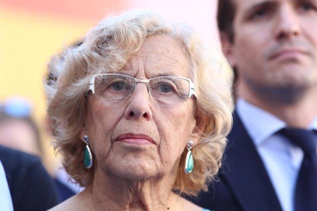 Carmena en el homenaje a Miguel Ángel Blanco en la Plaza de la Villa de Madrid