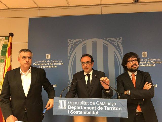 El conseller Josep Rull y el secretario de Infraestructuras, Ricard Font