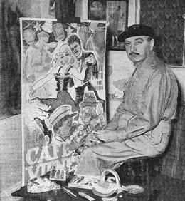 Quirino Cristiani junto a un cartel que él mismo dibujó
