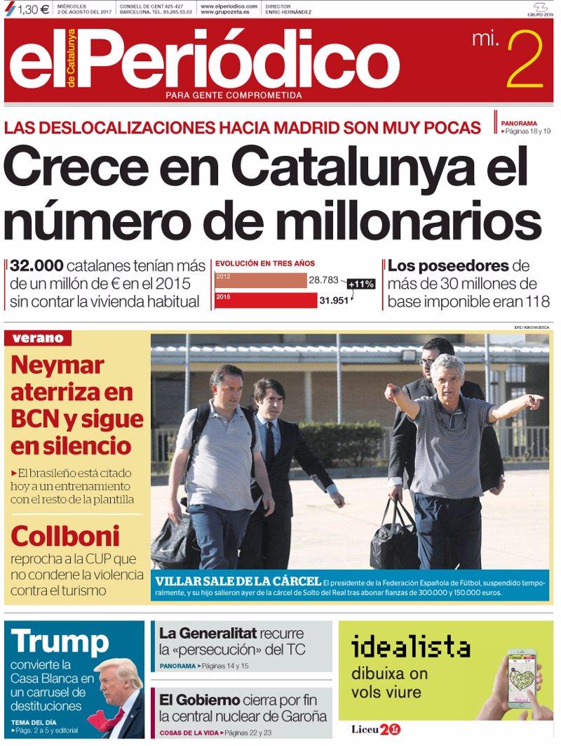 Las portadas de los periódicos de hoy, miércoles 2 de agosto de 2017