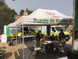 Un total de 24 medios aéreos trabaja en el incendio de Segura de la Sierra tras remitir el fenómeno de inversión térmica