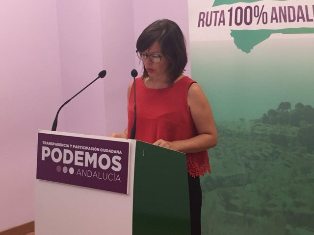 Rocío Van der Heide (Podemos Andalucía) en rueda de prensa