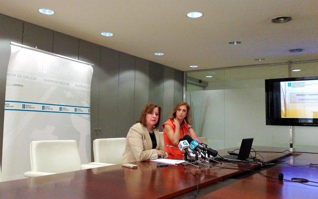 La secretaria xeral de Igualdade, Susana López Abella y Belén Liste