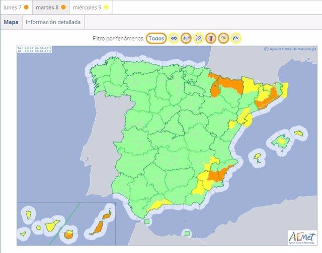 Mapa de alertas del tiempo en agosto