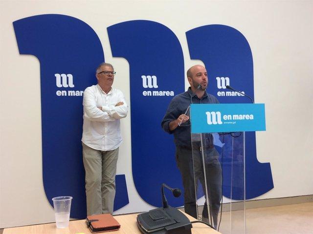 Luís Villares y Manuel Lago de En Marea en rueda de prensa