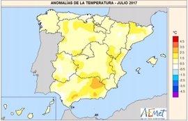 Julio de 2017 ha sido el sexto más caluroso del siglo, con 0.9ºC más cálido de lo normal, y ha tenido un carácter húmedo