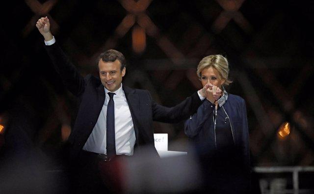Emmanuel Macron y Brigitte Trogneu