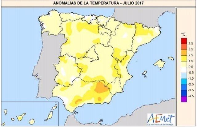 Anomalía de temperaturas en el mes de julio