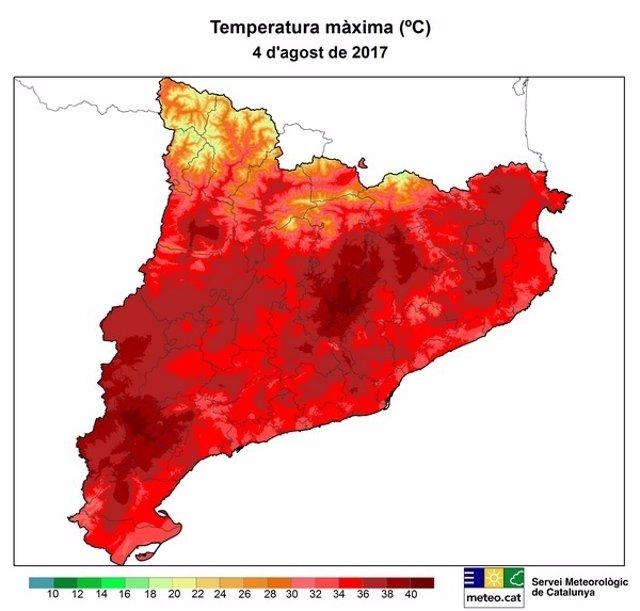 Mapa de la temperatura máxima de Catalunya el 4 de agosto de 2017