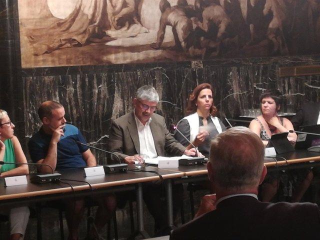Los concejales Andrés, Badia, Colom, Vila y Pin en la Comisión de Seguridad