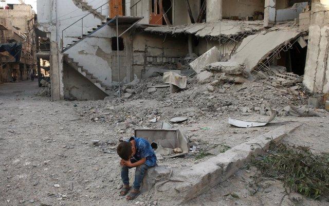 Edificios destruidos en Arbin (Damasco)