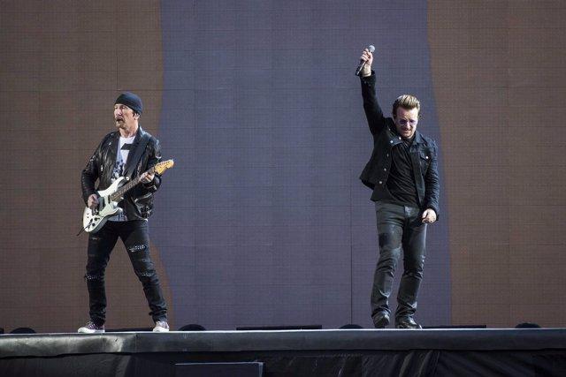 The Edge and Bono of U2 performs Joshua Tree live on stage at Twickenham Stadium