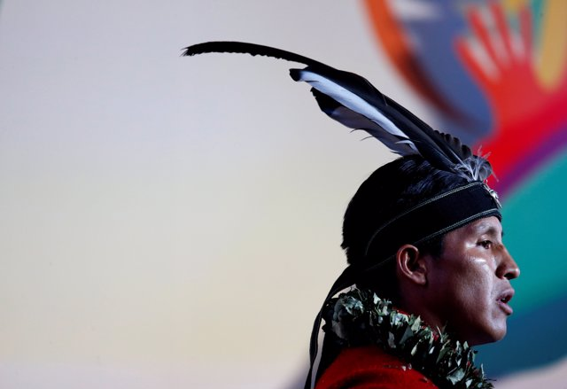 A Ecuador's indigenous man is seen at the closing ceremony of World People Confe