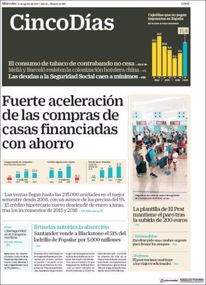 Las portadas de los periódicos económicos de hoy, miércoles 9 de agosto