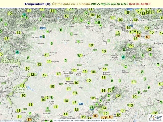 Cuadro de temperaturas en Castilla y León
