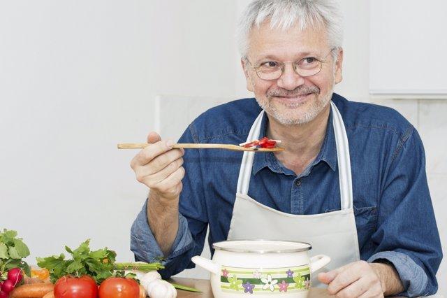 Anciano, mayores, comer,