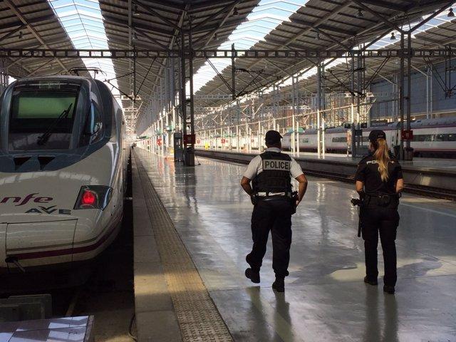 Agentes de policía francesa y española patrullando