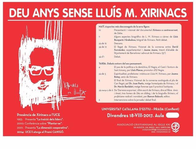 Jornada de la UCE sobre L.M.Xirinacs, organizada por Cristianisme al Segle XXI