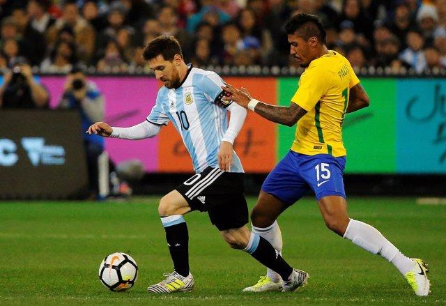 Messi en el Argentina - Brasil