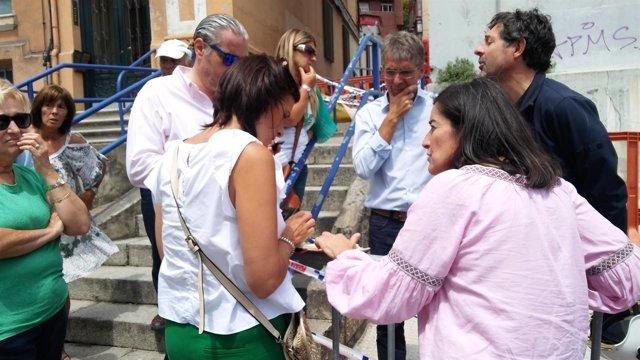 Vecinos afectados por derrumbe en calle del Sol con Igual y Díaz (Archivo)