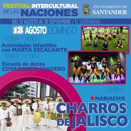 Cartel del domingo 13 de agosto del Festival Intercultural de Santander
